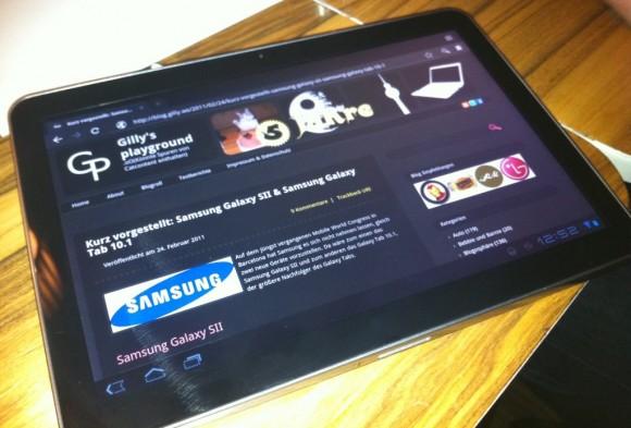 Samsung Galaxy Tab 10.1 Browser