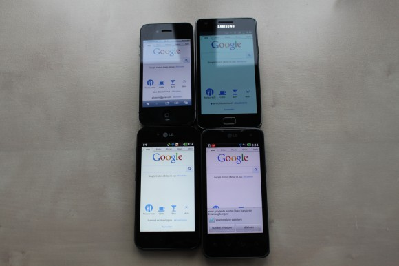 iPhone 4, Samsung Galaxy SII, LG P970 OPTIMUS Black, LG P990 OPTIMUS Speed