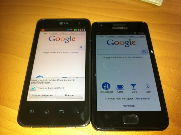 LG P920 OPTIMUS Speed und Samsung Galaxy SII