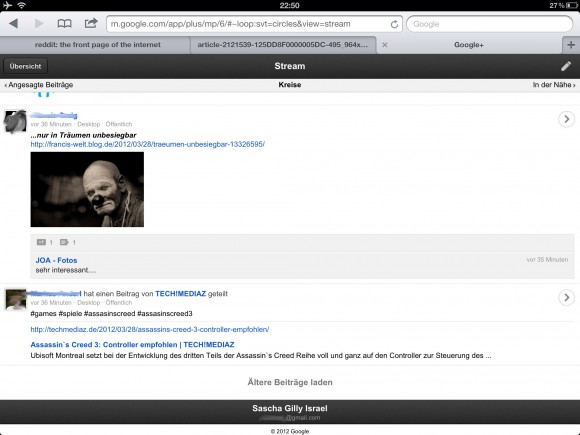 Google+ iPad Browser Mobile Version