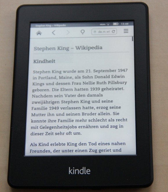 Kindle Browser - Artikelansicht