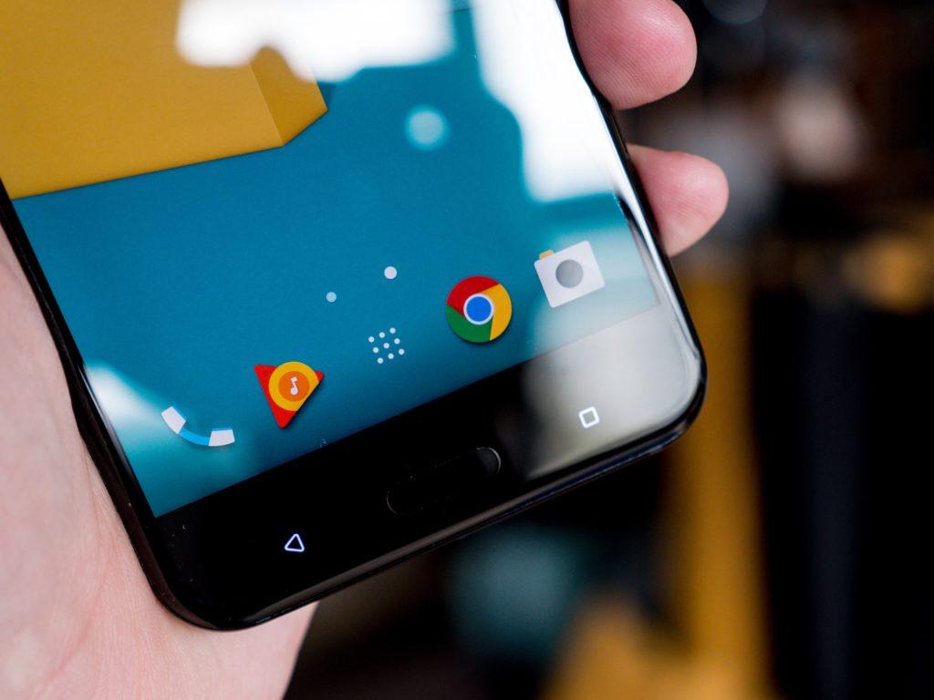 HTC U11 Navigationstasten und Fingerabdrucksensor